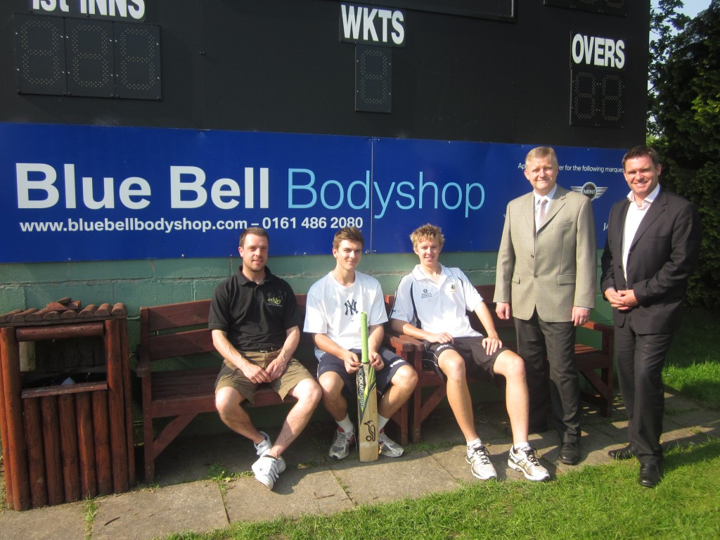 Toft CC - (L-R) Paul Ashby, Jake Hancock and Joe Stanley, with Robert Buckley of Blue Bell Bodyshop and Nigel Muirhead of Toft Cricket Club