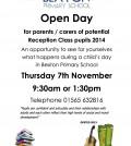 Open Day Reception flier