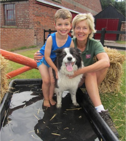 Jayne, Jake and Kip at the new water jump